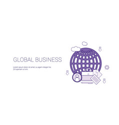 global business web banner with copy space vector image vector image