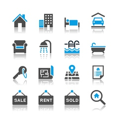 Real estate icons reflection vector