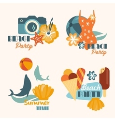 Set of Beach Party and Summer Time Vacation vector image