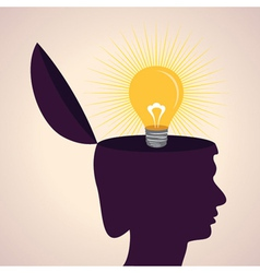 thinking concept-Human head with bulb symbol vector image vector image