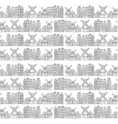 amsterdam houses windmill and city pattern vector image