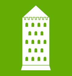 ancient building icon green vector image vector image