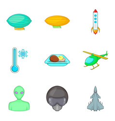 arrival from space icons set cartoon style vector image vector image