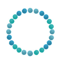 blue birthday party pom poms circle set and vector image vector image