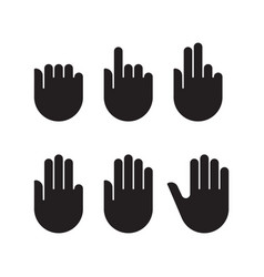 counting hand signs black silhouette set icons vector image vector image