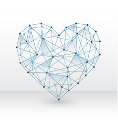 heart made with connected dots on white background vector image
