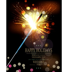 holiday background with lit sparklers vector image vector image