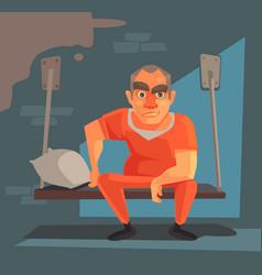 prisoner man character prison vector image vector image