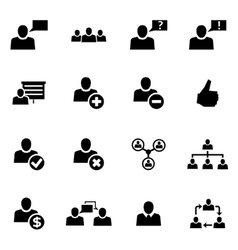black office people icon set vector image