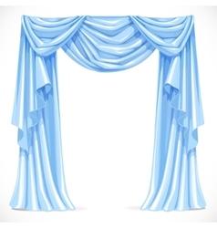 Blue curtain draped with pelmet isolated on a vector