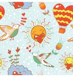 Bright cartoon romantic seamless pattern vector image