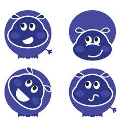 cute wild hippo set vector image vector image