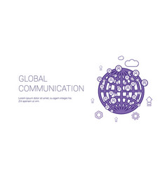 global communication web banner with copy space vector image