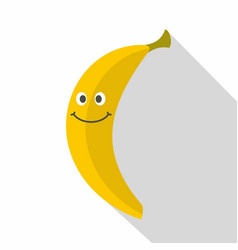 smiling banana icon flat style vector image vector image