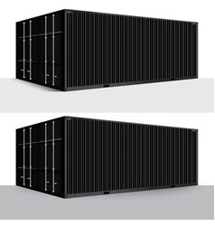 3d perspective black cargo container shipping vector