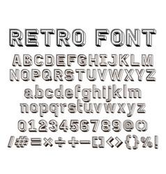 3d retro line font vector image