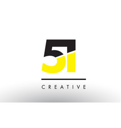 51 black and yellow number logo design vector