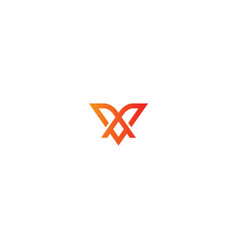 abstract v initial company logo vector image