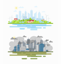 Air pollution city landscape difference flat vector