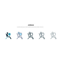 Airbag icon in different style two colored and vector
