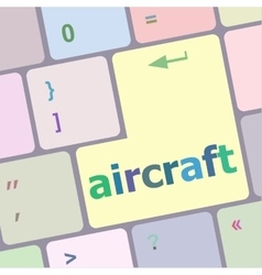 Aircraft on computer keyboard key enter button vector