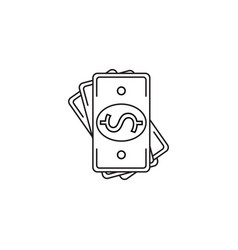 Banknote line icon money outline vector