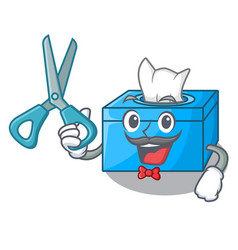 Barber character tissue box on wood floors vector