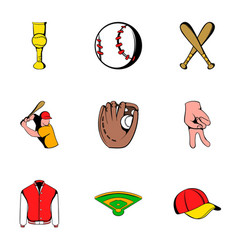 Baseball uniform icons set cartoon style vector