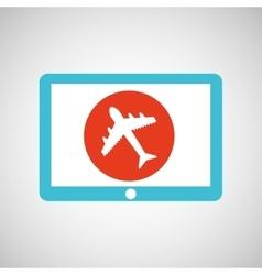 Blue tablet cartoon travel airport design vector