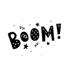 boom lettering isolated white hand drawn vector image