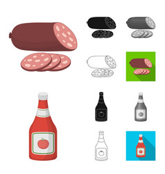burger and ingredients cartoonblackflat vector image