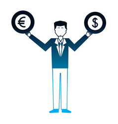 business man with coins dollar euro in hands vector image