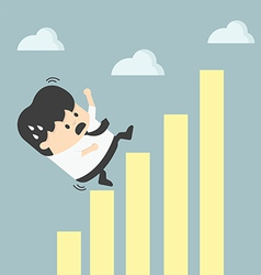 Businessman falling down graphic chart vector
