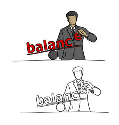 businessman making balance sketch vector image