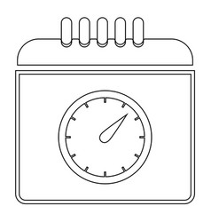 Calendar with a clock the black color icon vector