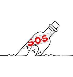 Cartoon characters - man in a sos bottle vector