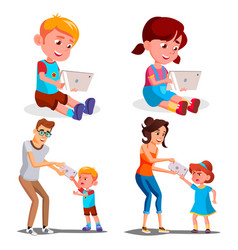 children s gadget dependence father vector image