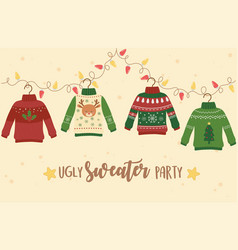 Christmas ugly sweater party decoration deer vector