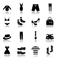 Clothes icons set black vector image