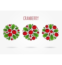 Cranberry round labels creative concept vector