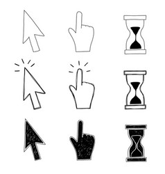 Cursor hand and hourglass vector