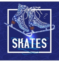 Decorative ice skates doodle stile icon vector