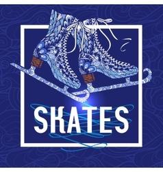 Decorative ice skates doodle stile icon vector image