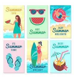 design cards with summer symbols and various vector image