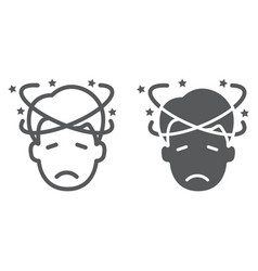 Dizziness line and glyph icon stress and human vector