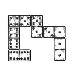 Domino bones engraving vector