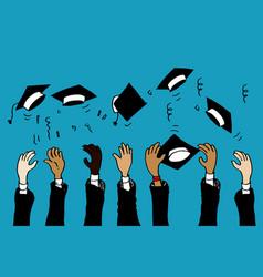 Doodle hands up graduation caps thrown in air vector