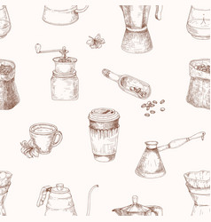 Elegant seamless pattern with tools for coffee vector