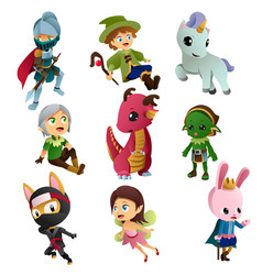 fantasy characters icons vector image