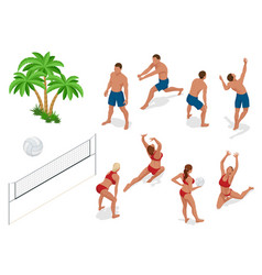 figures people when playing volleyball beach vector image